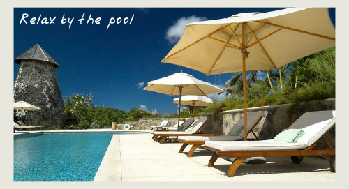 The pool at Cotton House Mustique